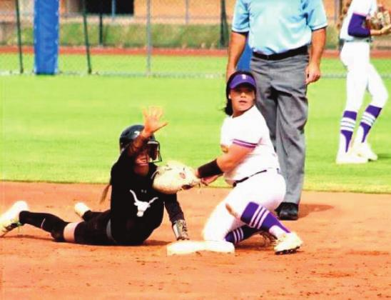 Albaney Pritchard makes a tag on a Lone Grove runner. courtesy photo